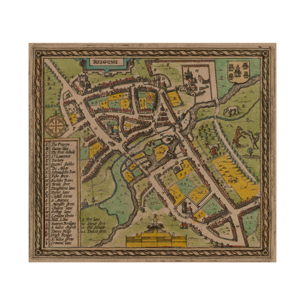 Kids Map Of England.Vintage Map Of Reading England 1611 Reading England Kids Long