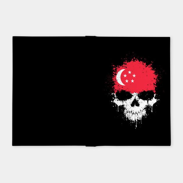 Chaotic Singapore Flag Splatter Skull