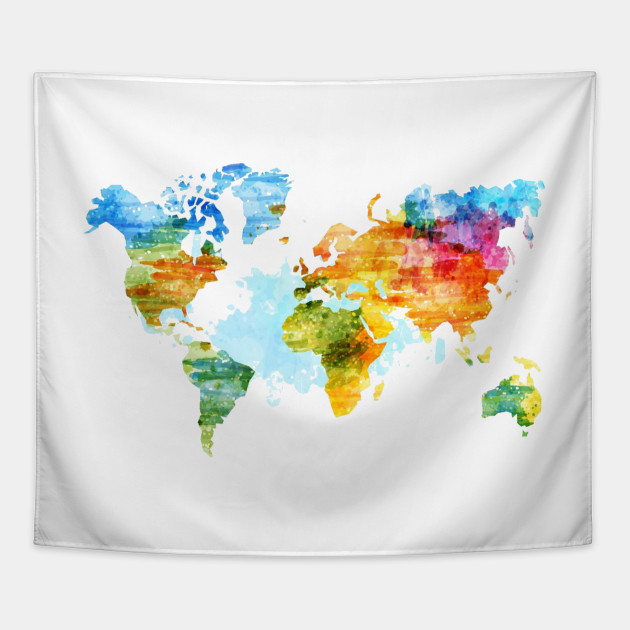 Colorful World Map World Map Tapestry Teepublic
