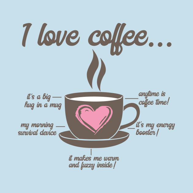 I Love Coffee Funny and Cute Heart T-Shirt