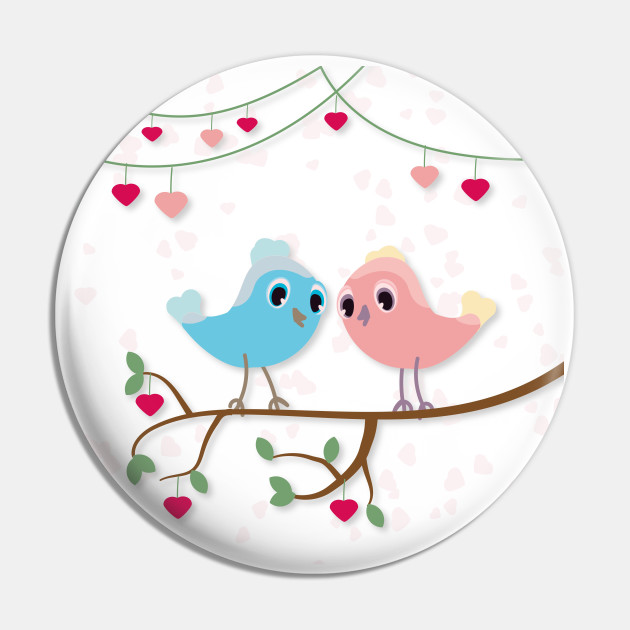 Love birds sitting on tree branch