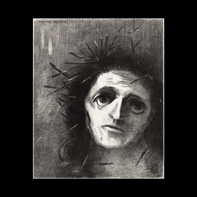 Christ by the Flower Retro Creepy Painting