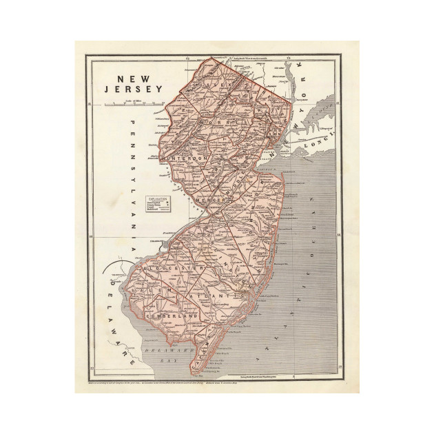 Vintage Map of New Jersey (1845)