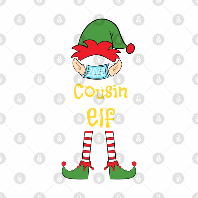 2020 Masked Christmas Elf Family Group Matching Shirts -  Cousin
