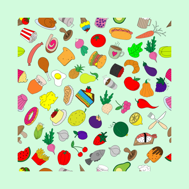color print with food