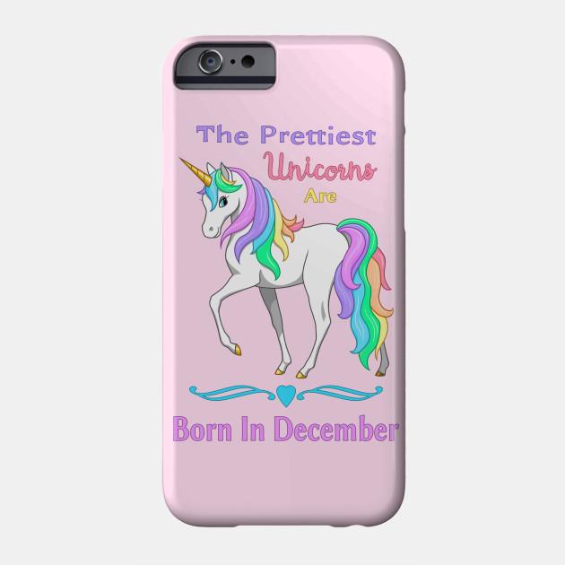 84ec74e3c Pretty Rainbow Unicorn Born In December Birthday Girl - Unicorns ...