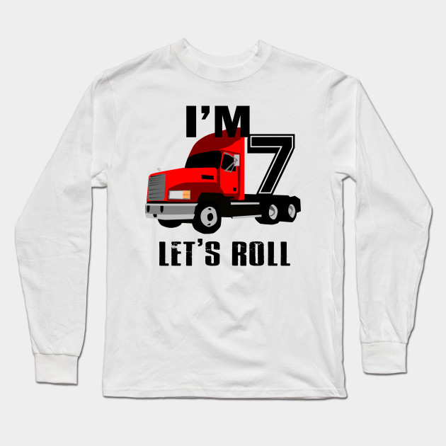 Kids Monster Truck Birthday 7th T Shirt Boy 7 Year Old Long Sleeve