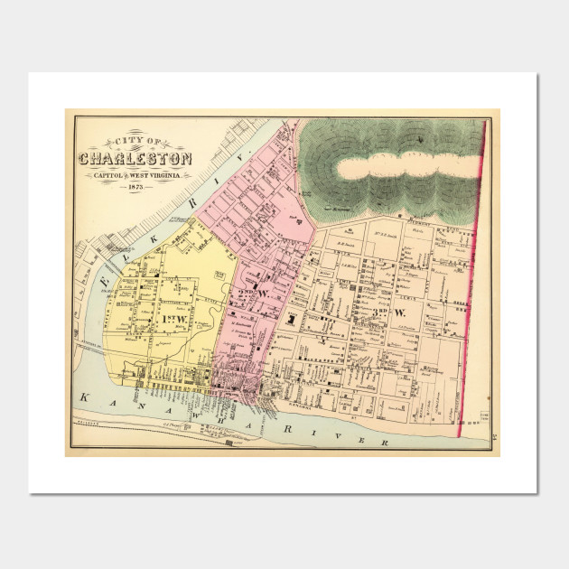 Vintage Map of Charleston West Virginia (1873) - Charleston Wv Map on