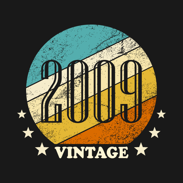 Vintage retro born in 2009 birth year gift