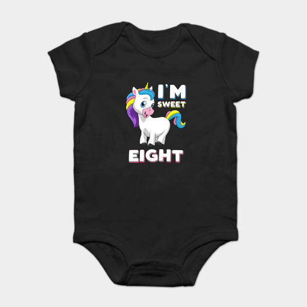 I'm eight Girl Shirt Sweet Unicorn 8th birthday Kids Party