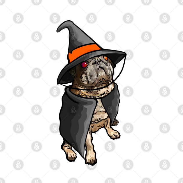 Pug in Witch Costume