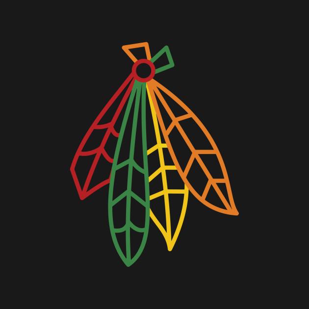 Blackhawks feathers blackhawks logo t shirt teepublic for Hawks t shirt jersey