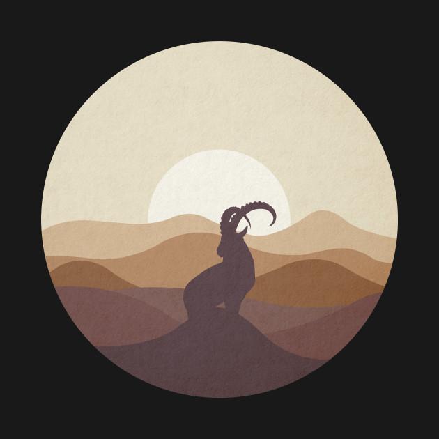 Flat Landscape Ibex Desert Animal Silhouette