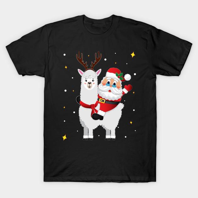 Llama Christmas Shirt.Reindeer Santa Claus Riding Llama Alpaca Christmas