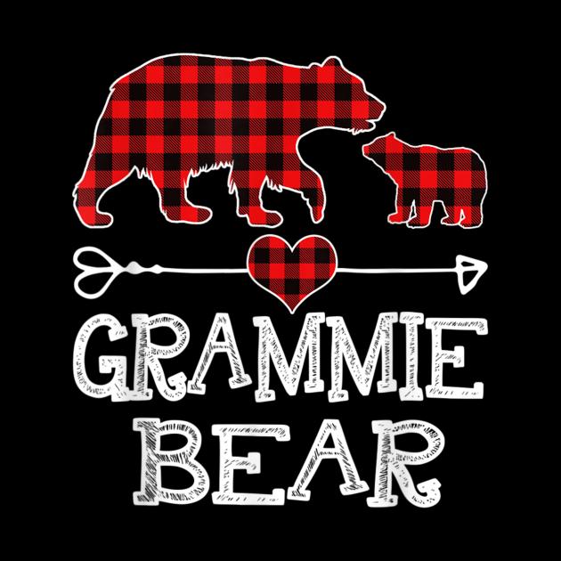 Grammie Bear Christmas Pajama Red Plaid Buffalo Family Gift