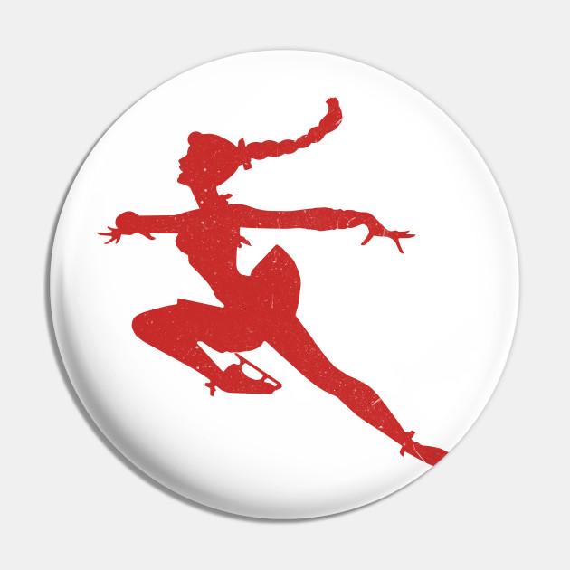 Ice skating girl - red on white
