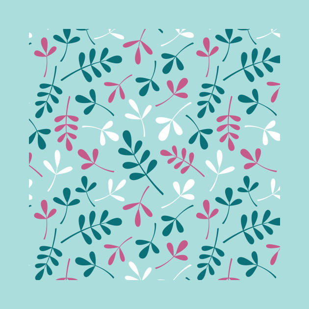 Assorted Leaf Silhouettes Teals Pink White