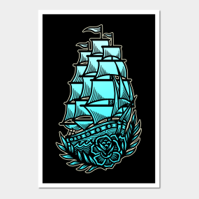 5d2f1aafd8207 Nautical Clipper Ship Roses Vintage Tattoo Flash American Traditional  Posters and Art