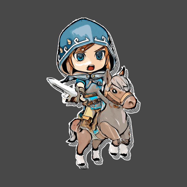 Chibi Link Breath of the Wild - hood and horse