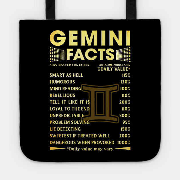 GEMINI FACTS T SHIRT FUNNY Tote