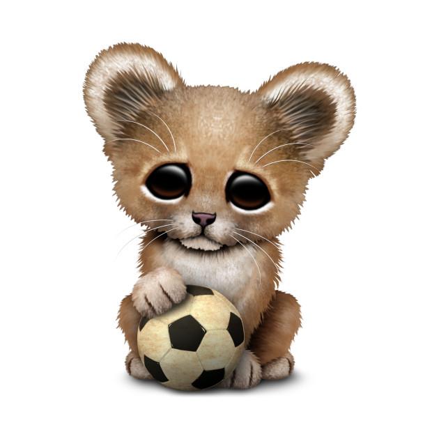 Lion Cub With Football Soccer Ball