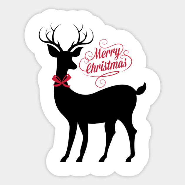 Christmas Stickers.Merry Christmas Reindeer With Red Bow Accent