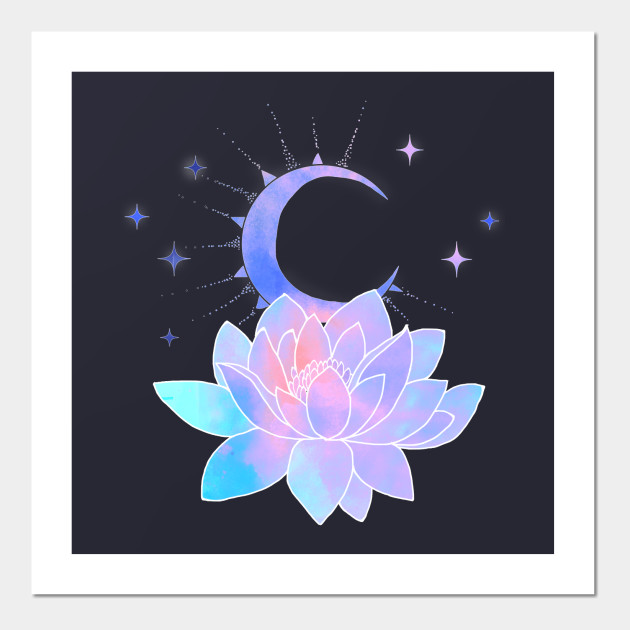 Moon Lotus Flower Water Lily Posters And Art Prints Teepublic