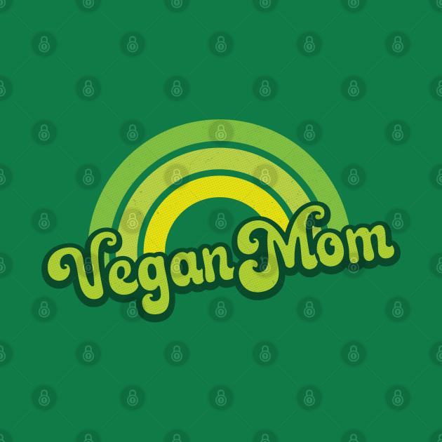 Vegan Mom Retro Rainbow Green