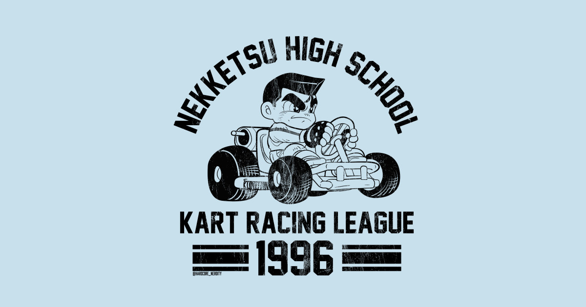 Kunio Kart High School Racing Shirt - Black (Light BG) by hardcorenerdity