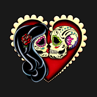 Ashes - Dia de los Muertos Couple - Day of the Dead Sugar Skull Lovers t-shirts