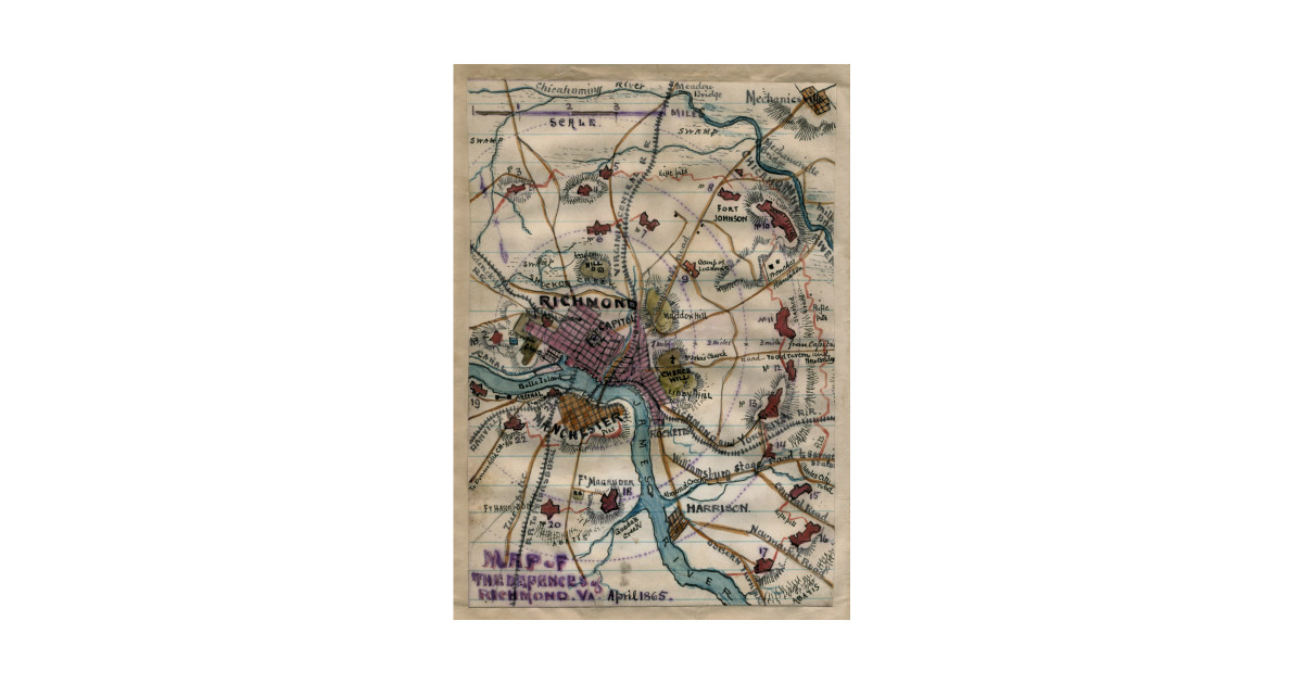 Vintage Richmond Virginia Civil War Map 1865 Richmond Map