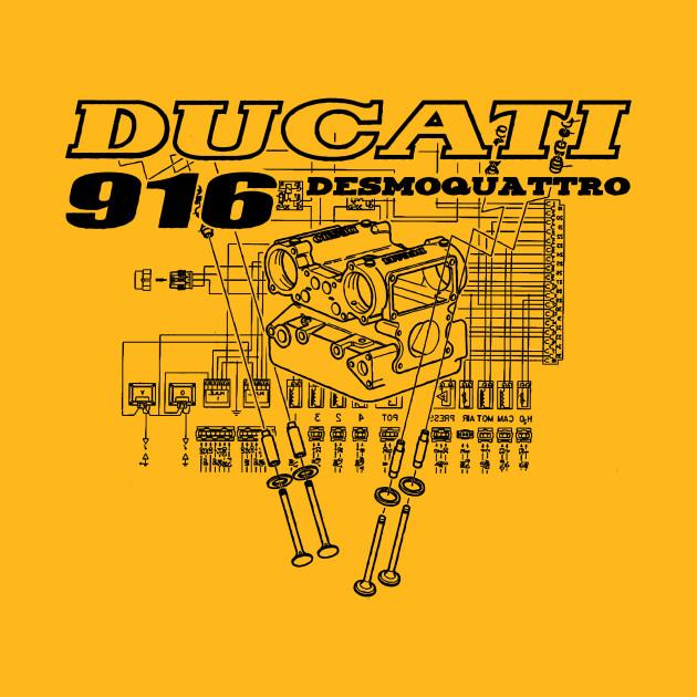Ducati 916 Desmoquattro Collage - Black Design