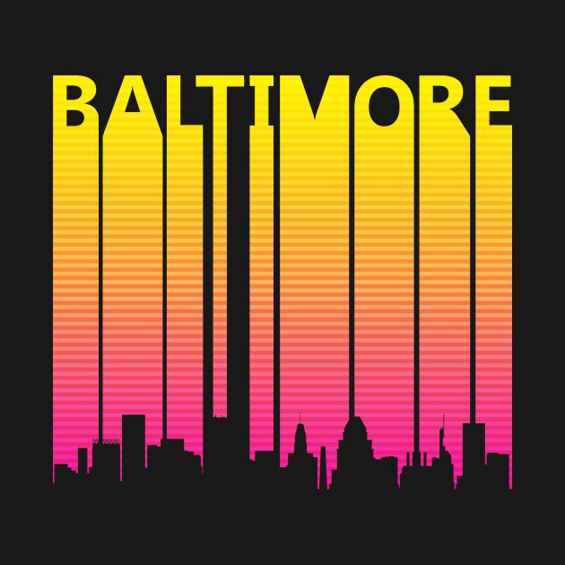 Retro 1980s Baltimore Skyline Silhouette