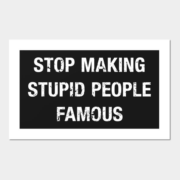Funny Stop Making Stupid People Famous Quote