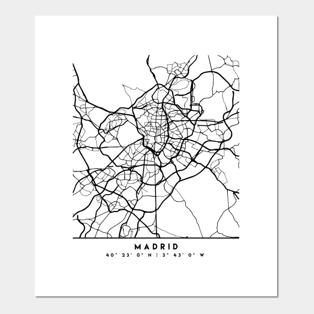 MADRID SPAIN BLACK CITY STREET MAP ART on map flags, map design, antique maps and prints, map clothing, map of california, map accessories, map home decor, map wedding, map medieval prints, map craft prints,