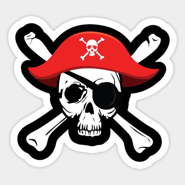 Pirate skull and crossbones with red hat and eye patch