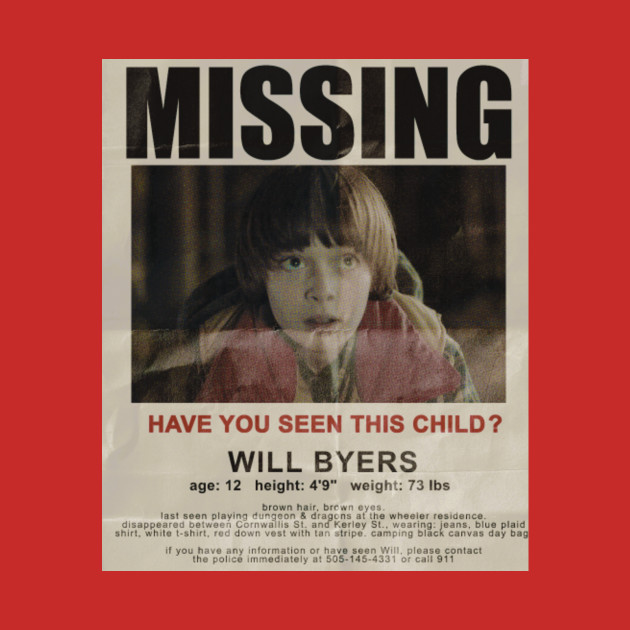 Stranger Things Will Byers Missing Poster