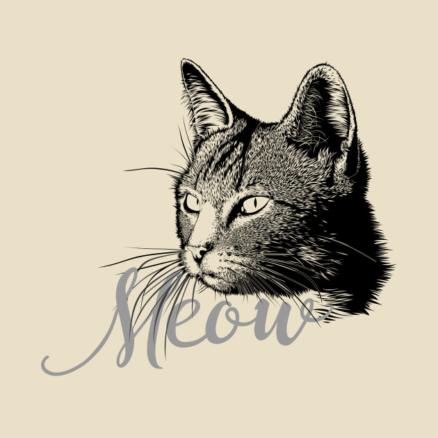 Beautiful and cute CAT HEAD with the word MEOW