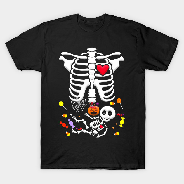 b5ee998a7 Maternity Baby Skeleton with Candy Halloween Shirt - Halloween ...