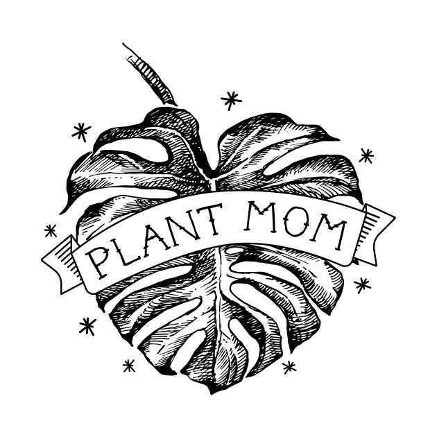 Plant Mom Vintage Monstera Heart Tattoo - Black