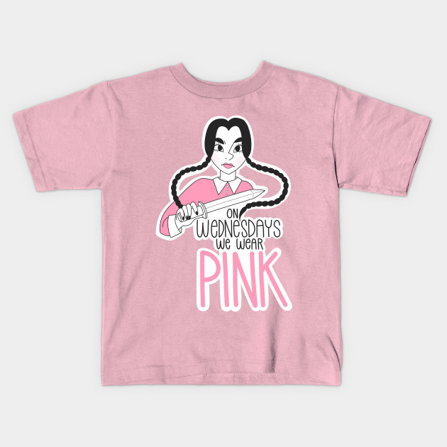 f91f9487218a On Wednesdays We Wear Pink - Wednesday Addams - Kids T-Shirt | TeePublic