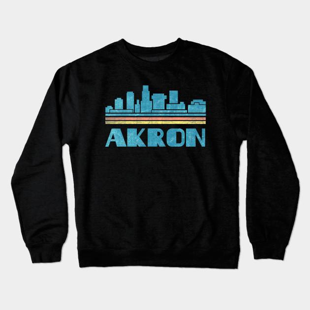 b62f3eda74aa Akron T-Shirt City Skyline Retro Cityscape 70s 80s Vintage Ohio OH Gift Tee  Tshirt Crewneck Sweatshirt