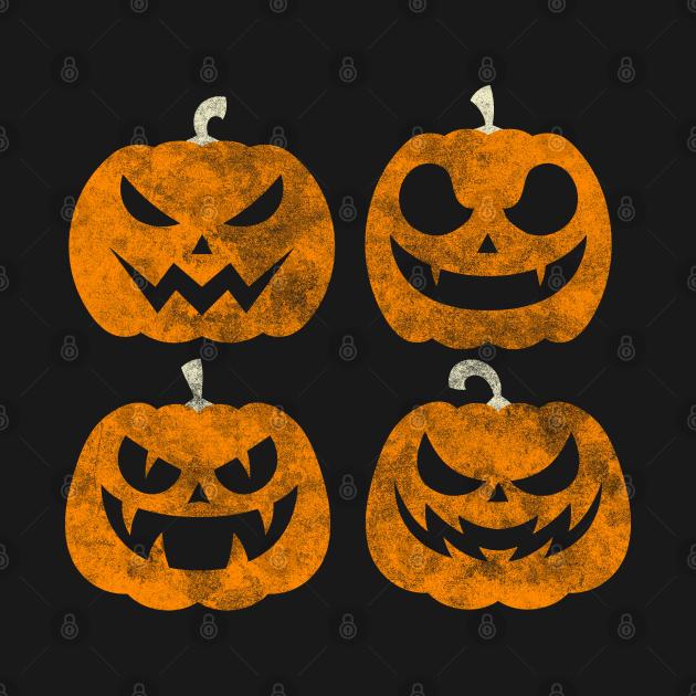 Halloween Pumpkins Distressed Jack O Lanterns