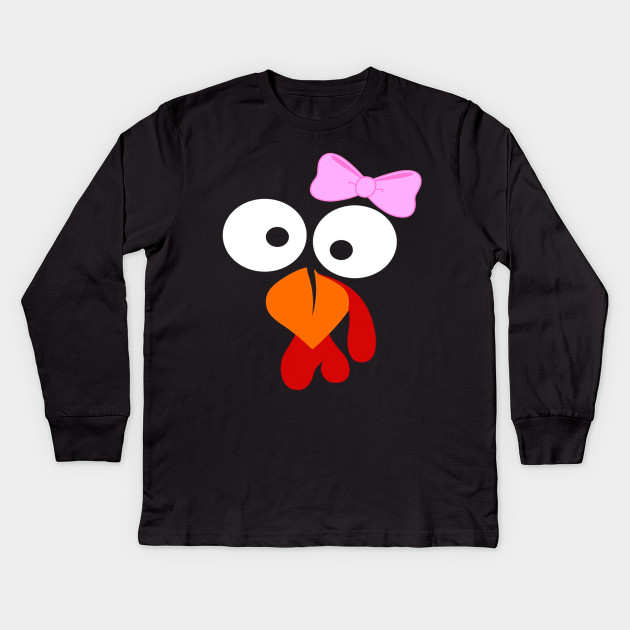 4e274949 Turkey Face Girl Pink Bow TShirt Thanksgiving - Turkey Face Girl ...