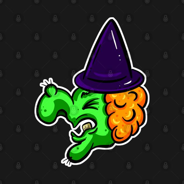 Halloween Green Witch Cartoon Wart