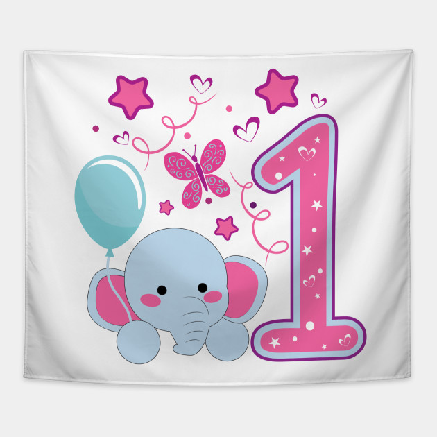 First Birthday Girls Elephant 1st 1Girl Daughter Niece Cute Sweet One Year Old Mug Sticker Pillow Gifts Ideas Tapestry
