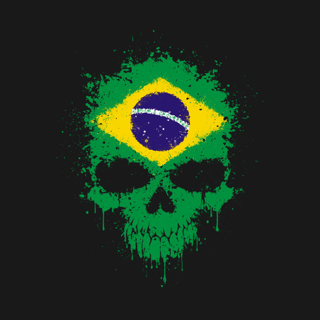 chaotic brazilian flag splatter skull brazil t shirt teepublic