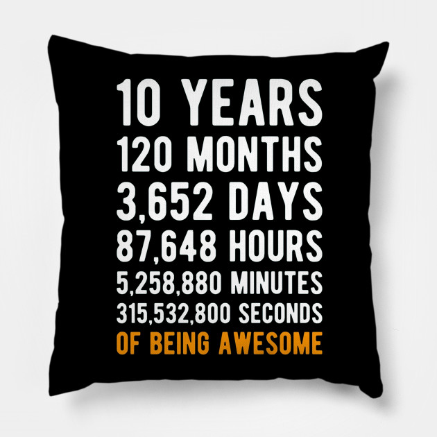 10th Birthday Gift Shirt 10 Years Old Being Awesome Pillow