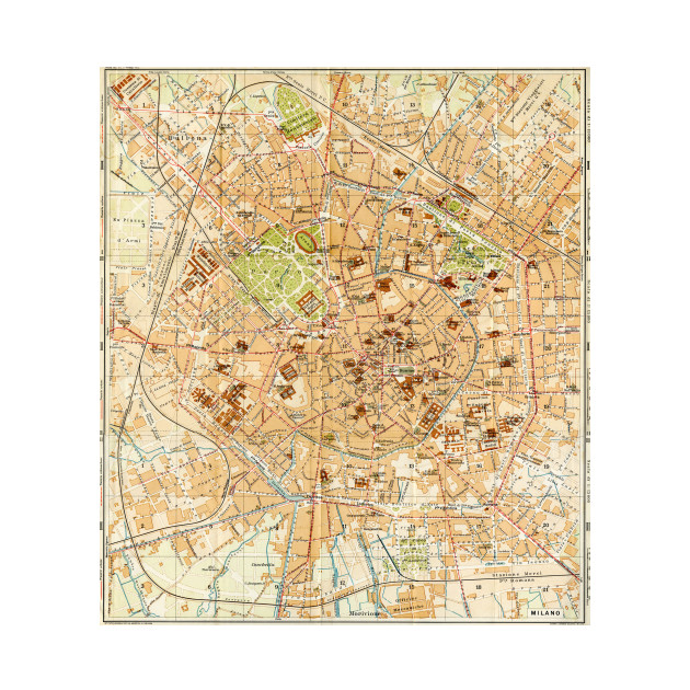 Vintage Map of Milan Italy (1914) - Milan Map - Phone Case | TeePublic