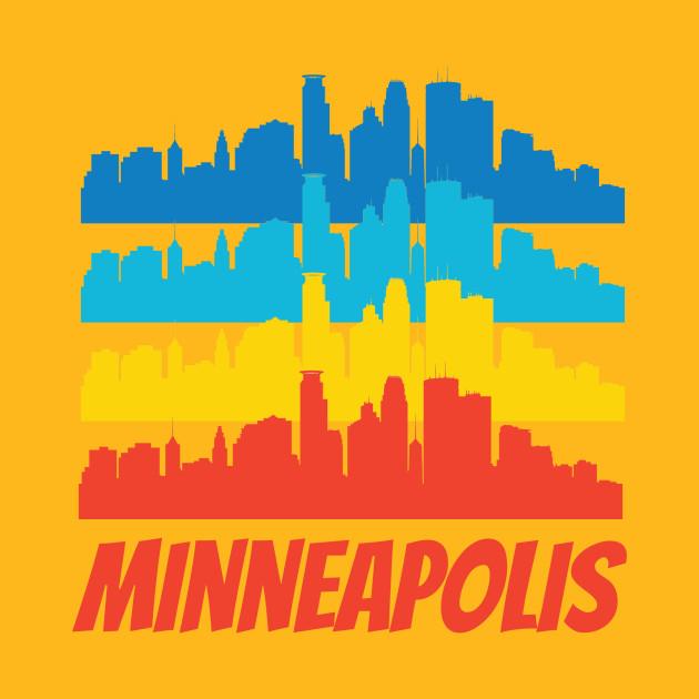 Retro Minneapolis MN Skyline Pop Art - Minneapolis - T-Shirt | TeePublic